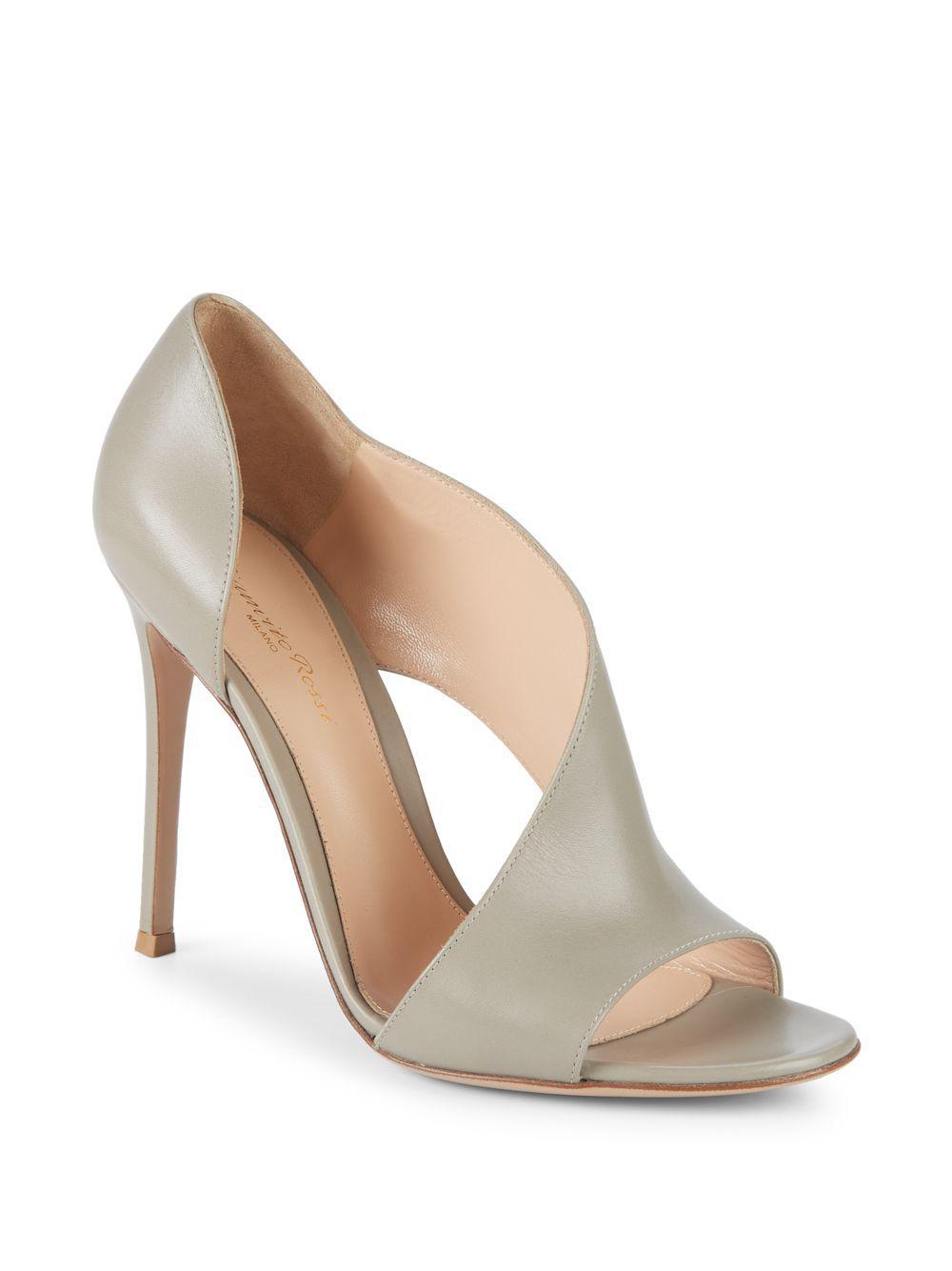 d7dc53f86c8e Lyst - Gianvito Rossi Leather Cutout Sandals in Gray