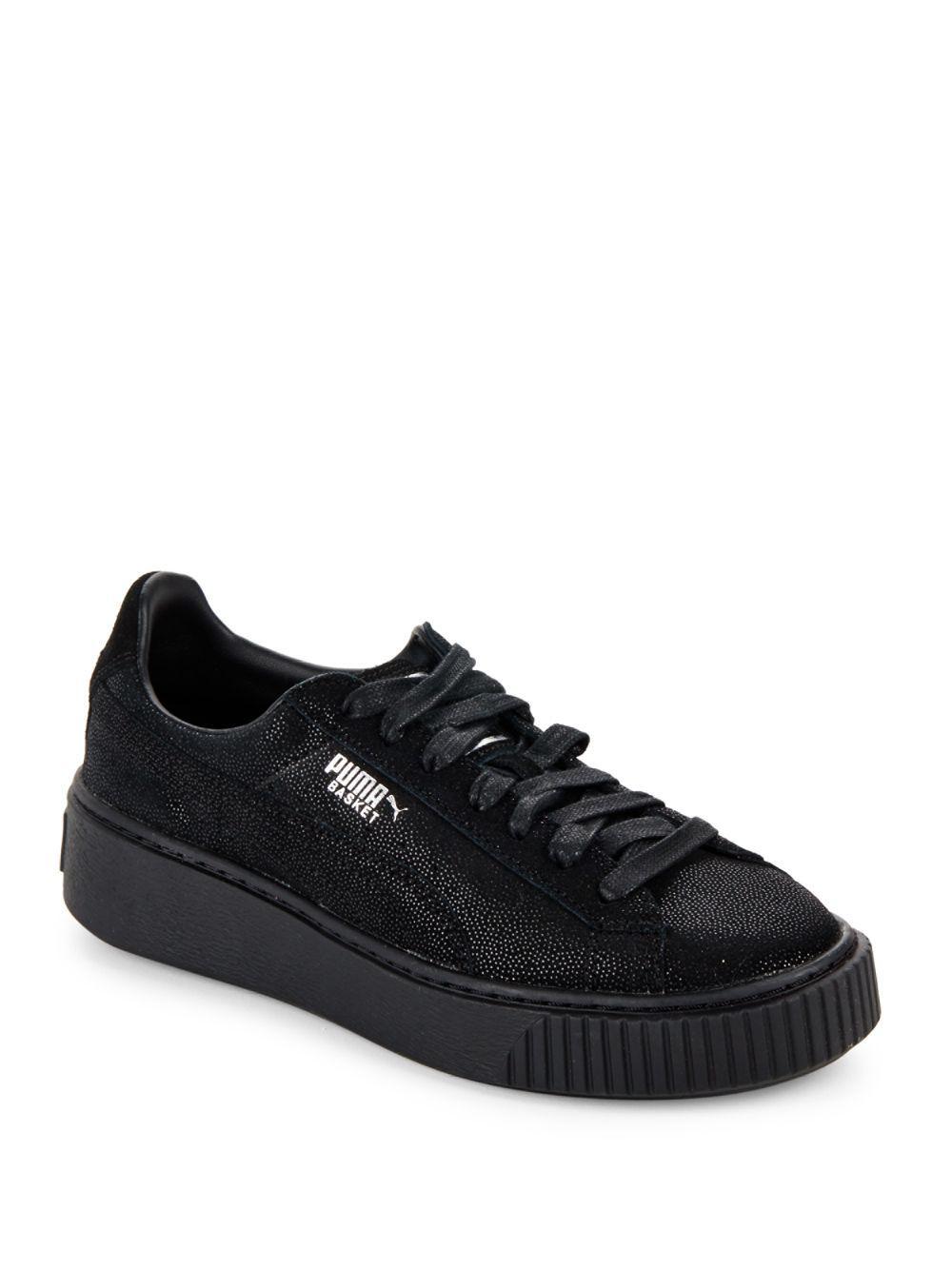 Lyst - PUMA Basket Leather Platform Sneakers in Black for Men - Save 38% efe7598e8