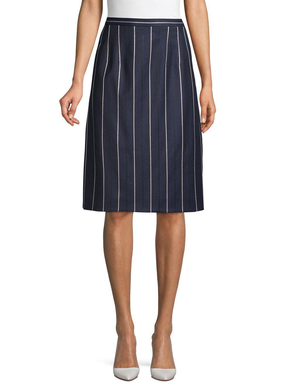 351091193 Lyst - Oscar de la Renta Striped Wool Blend Skirt in Blue