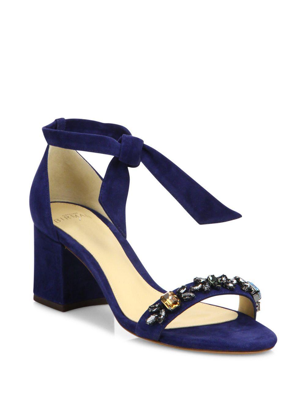 91c98d81bab Lyst - Alexandre Birman Clarita Jeweled Suede Block Heel Sandals in Blue