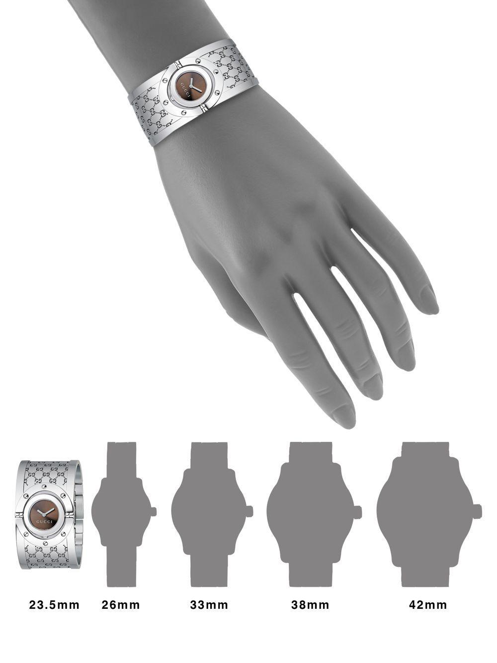 b8ccfcf9941 Lyst - Gucci Twirl Stainless Steel Monogram Bangle Bracelet Watch in ...