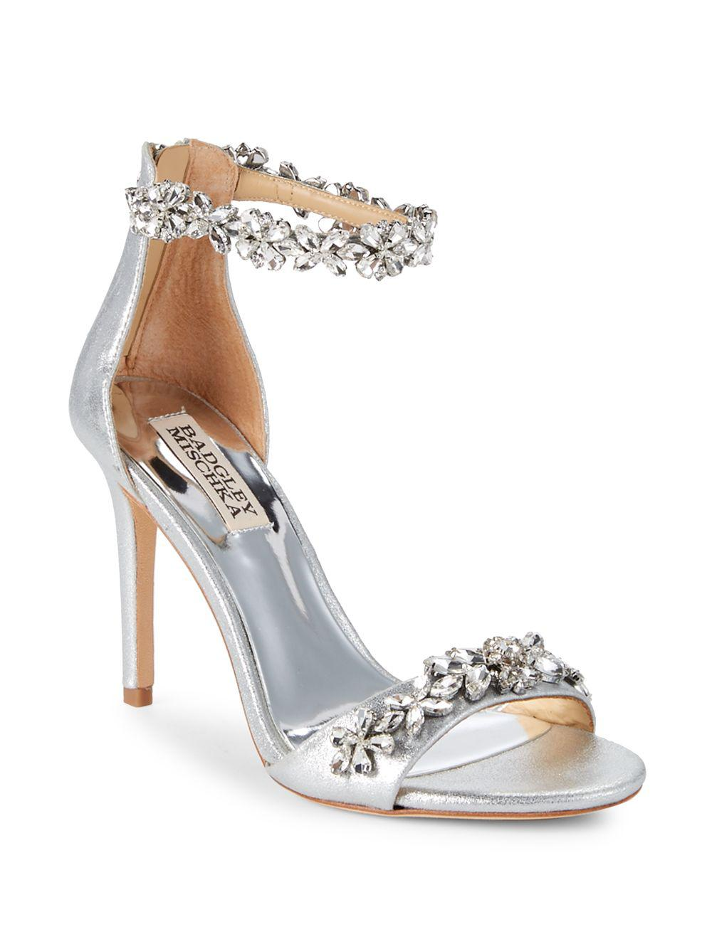 447a5d7bee9 Badgley Mischka. Women s Metallic Valentine Embellished Leather Ankle-strap  Sandals