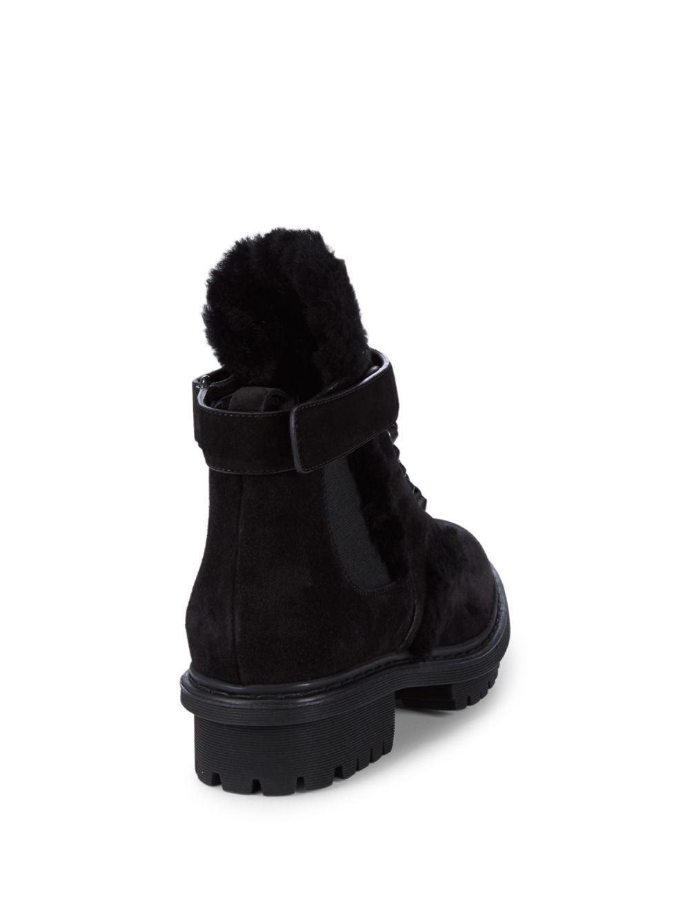 366366e15da9ec Lyst - Balenciaga Shearling-trimmed Leather Ankle Boots in Black