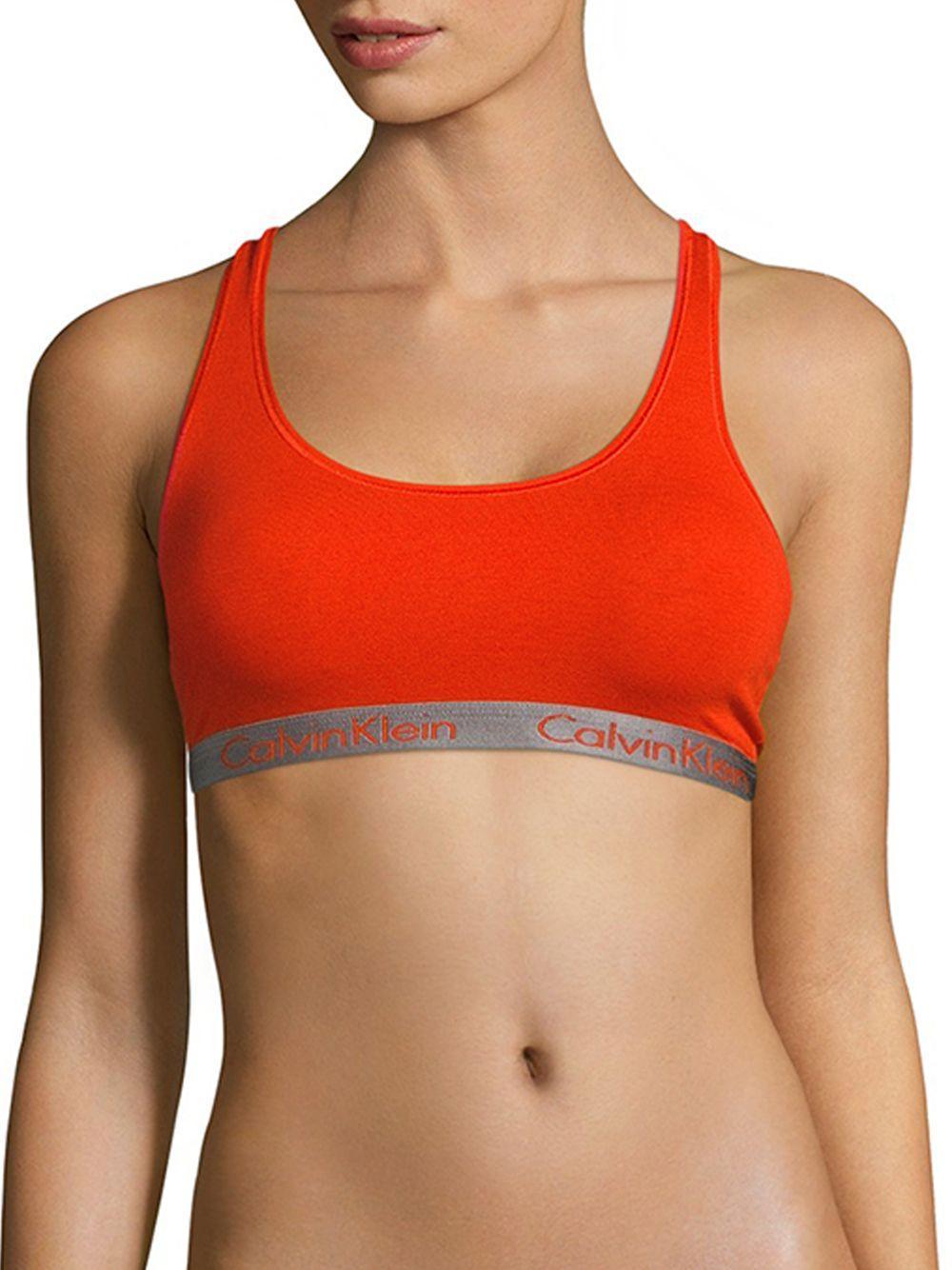 82a6e99d6dd Lyst - Calvin Klein Radiant Cotton-blend Bralette in Orange