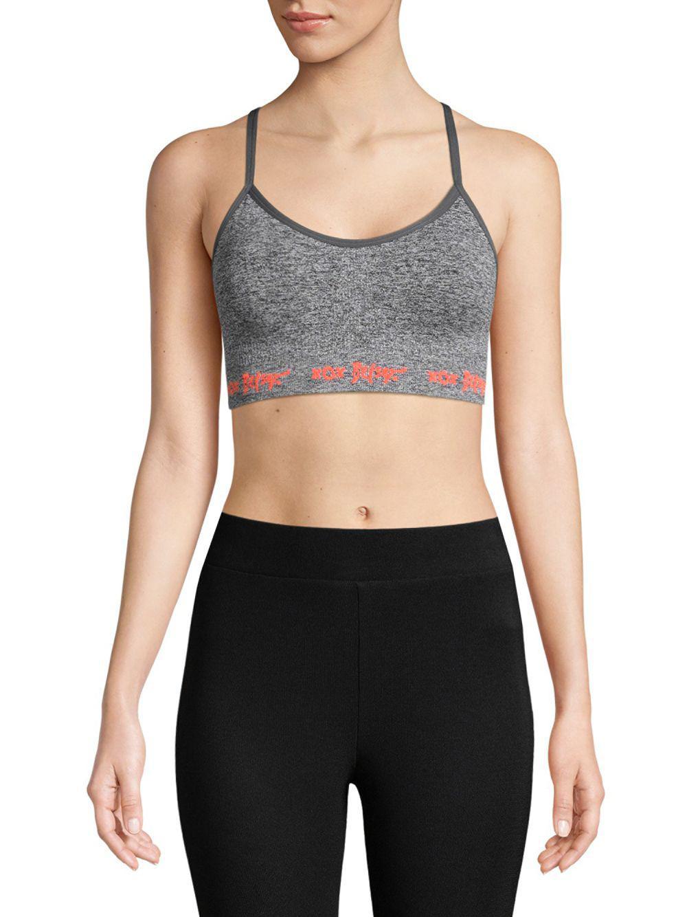 5bb7ea9f8312a Lyst - Betsey Johnson Knit Sports Bra in Gray