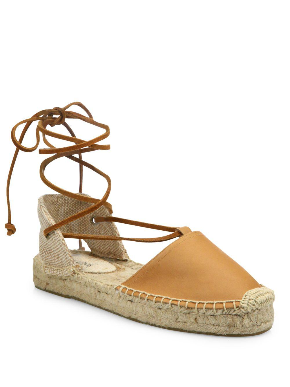 Soludos. Women's Brown Leather Lace-up Espadrilles