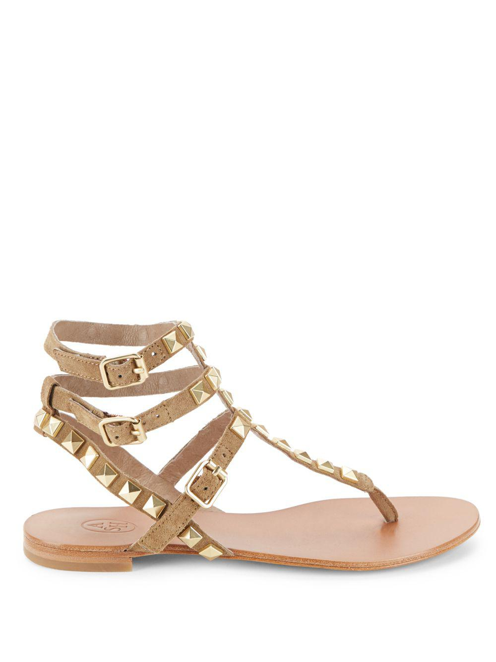 ce1e7079f742 Ash - Brown Mumbaia Studded Strappy Sandals - Lyst. View fullscreen