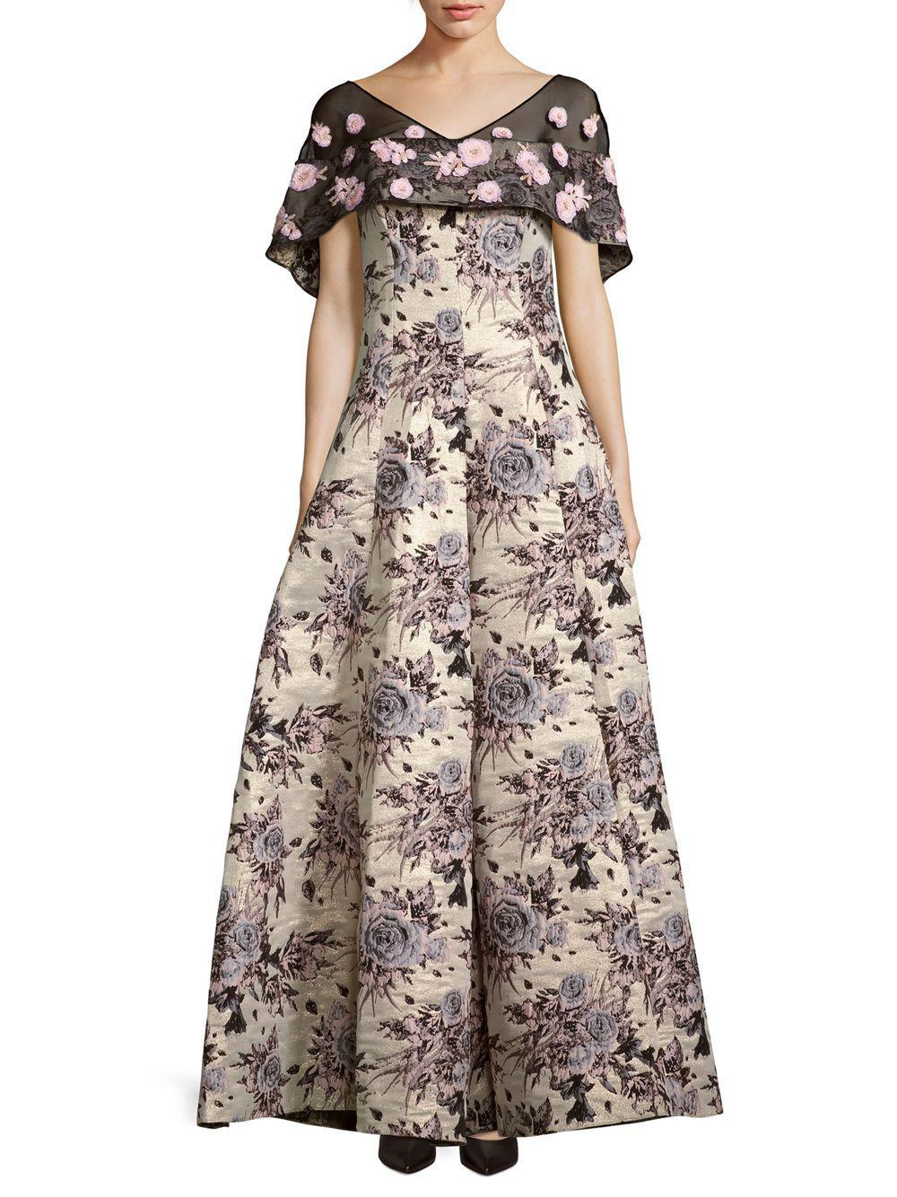 Lyst - Badgley Mischka Floral-motif Brocade Gown