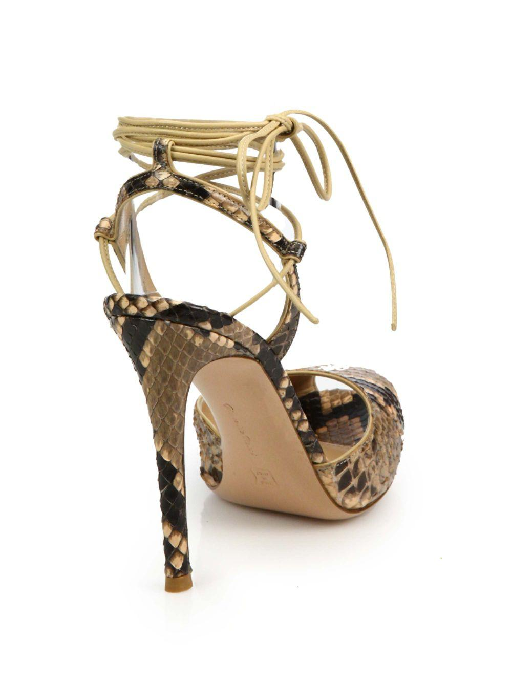 fb479ad422 Gianvito Rossi Python-embossed Leather Peep Toe Ankle-wrap Sandals - Save  23% - Lyst