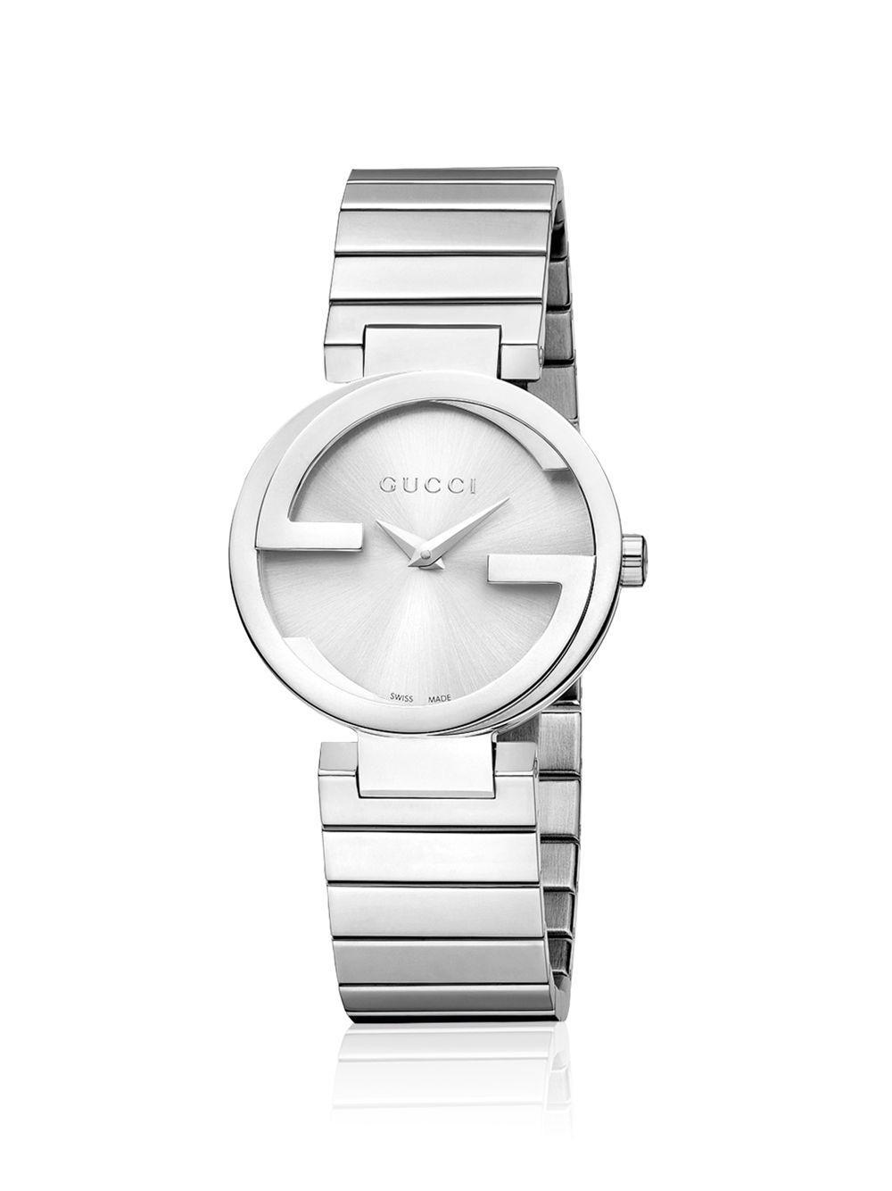 6be55d0b80d Lyst - Gucci Interlocking Stainless Steel Bracelet Watch silver in ...