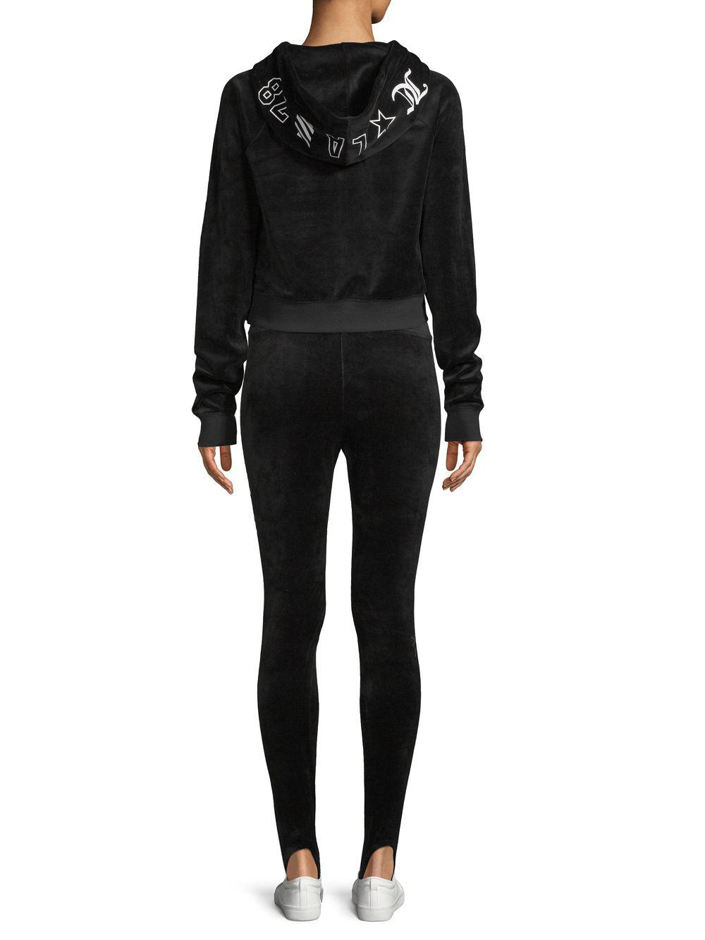 6339d63fa4af8 Juicy Couture Velour Stirrup Leggings in Black - Lyst