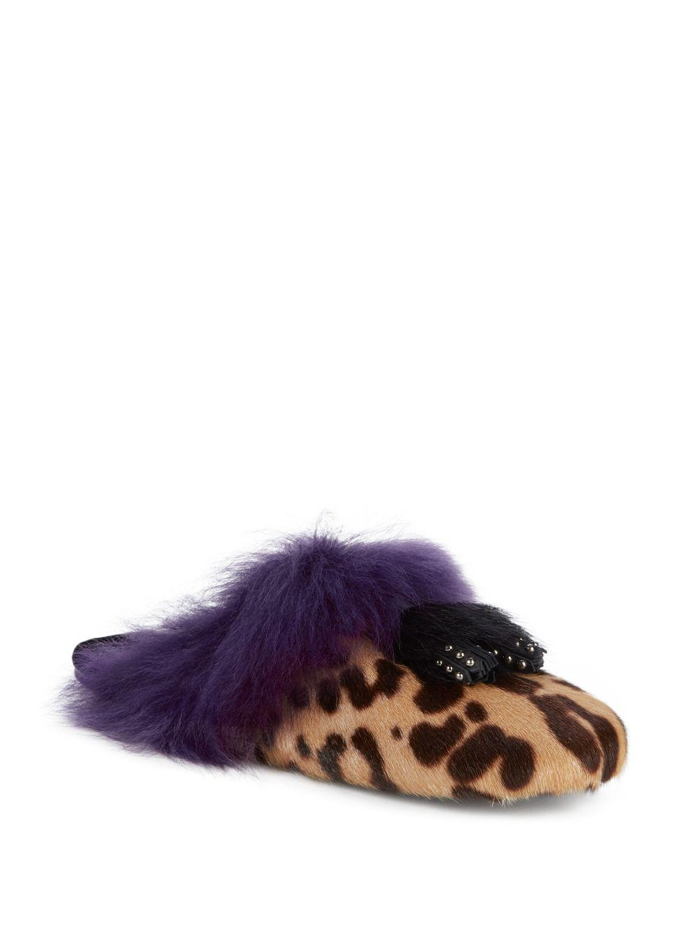 c442aca5257 Prada Calf Hair   Goat Fur Leopard Print Mules in Purple - Lyst