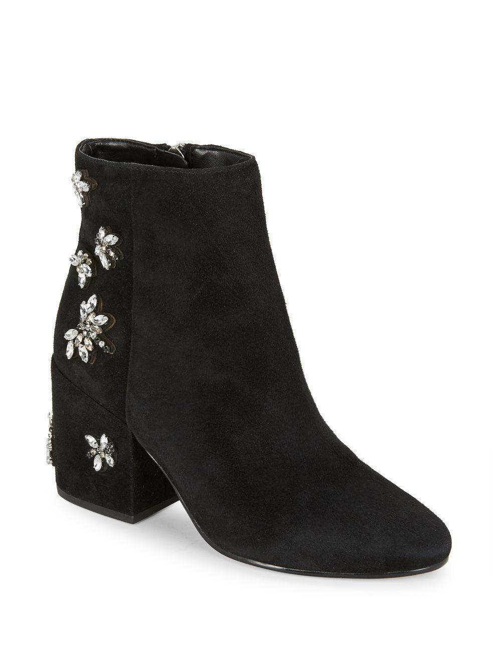 6f852d4a9f9786 Lyst - Sam Edelman Taye Suede Embellished Ankle Boots in Black