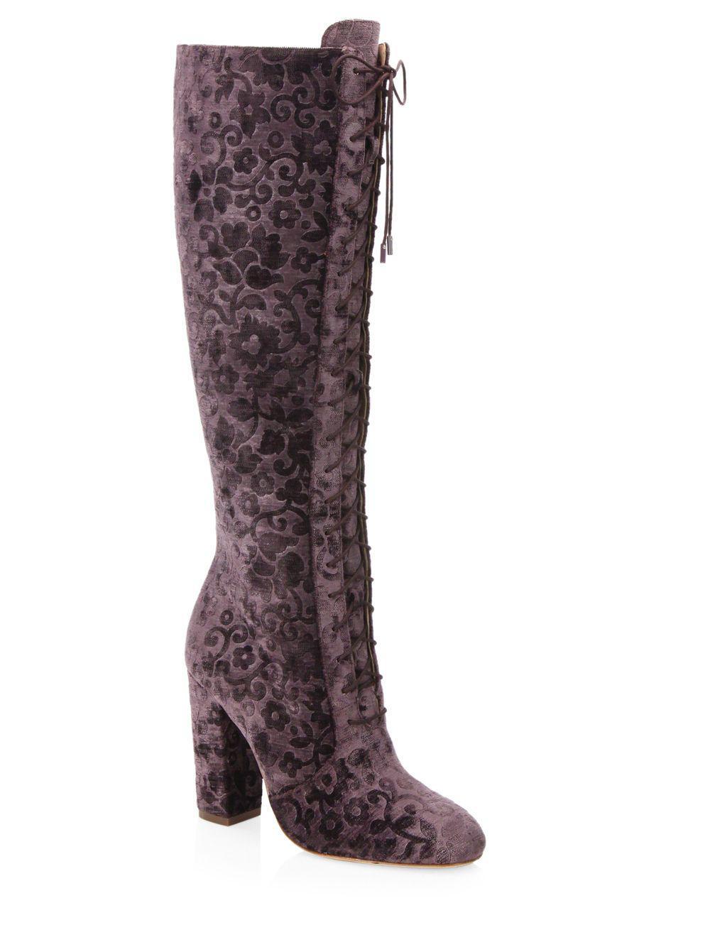 ALICE+OLIVIA Vesey Embossed Velvet Boots mrZoy1RR81