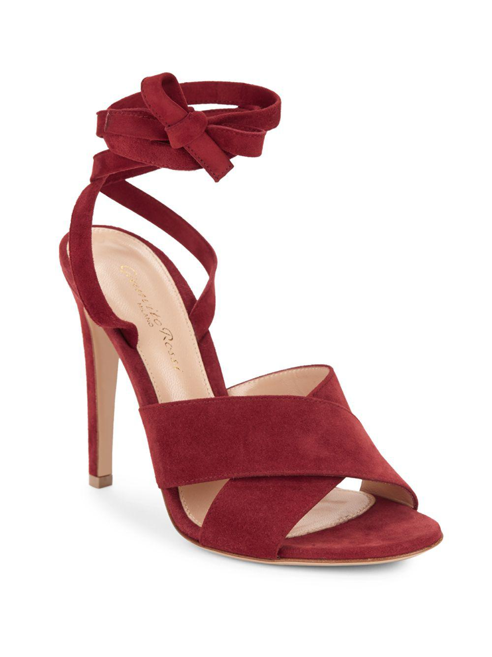 25f0571b177 Gianvito Rossi Crisscross Leather Ankle-strap Sandals in Red - Save ...