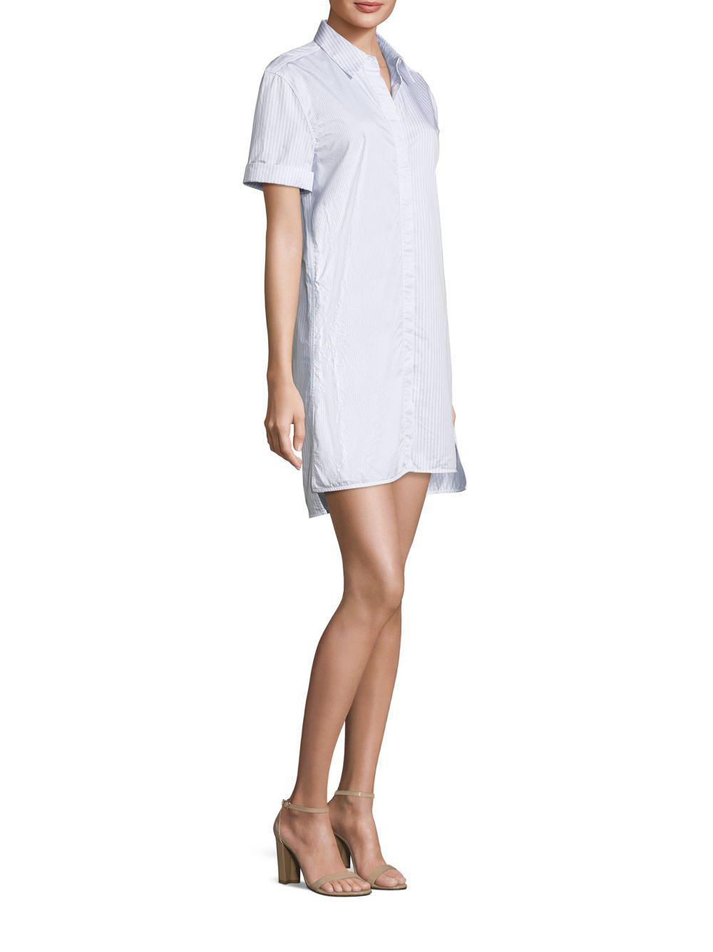 Equipment Mirelle Striped Shirtdress In White Save 40 Lyst