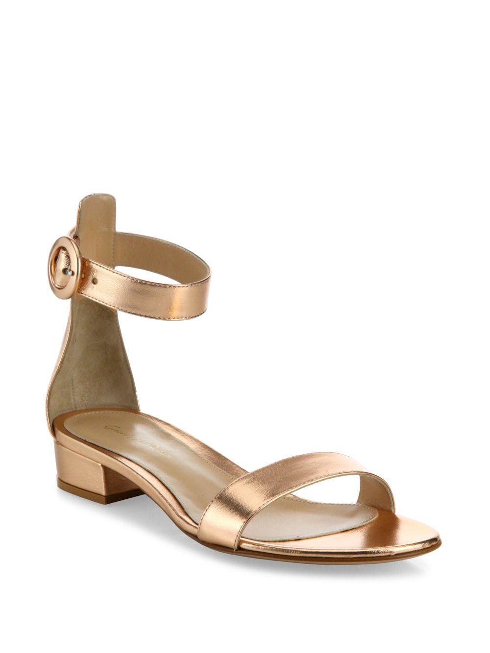 aafbc63bd8d Lyst - Gianvito Rossi Metallic Leather Ankle-strap Sandals in Metallic