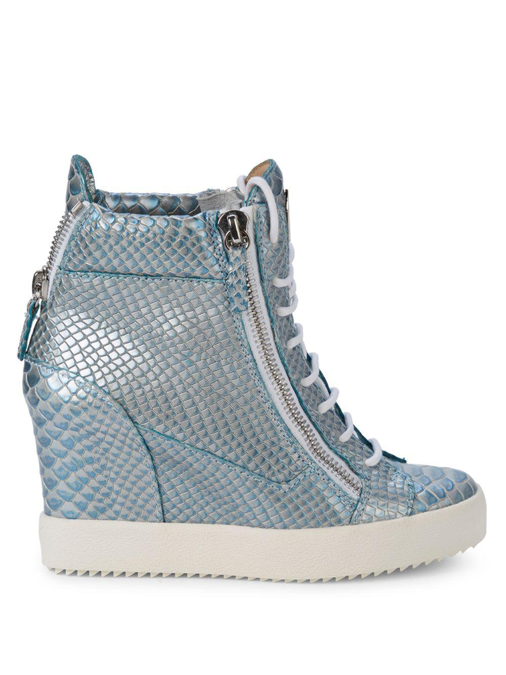 35d4f2895020b Giuseppe Zanotti Lamay Lorenz 75 Metallic-leather Wedge High-top ...