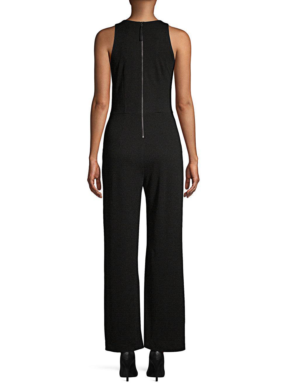 67bab05dff ... Black Ruched V-neck Jumpsuit - Lyst. View fullscreen