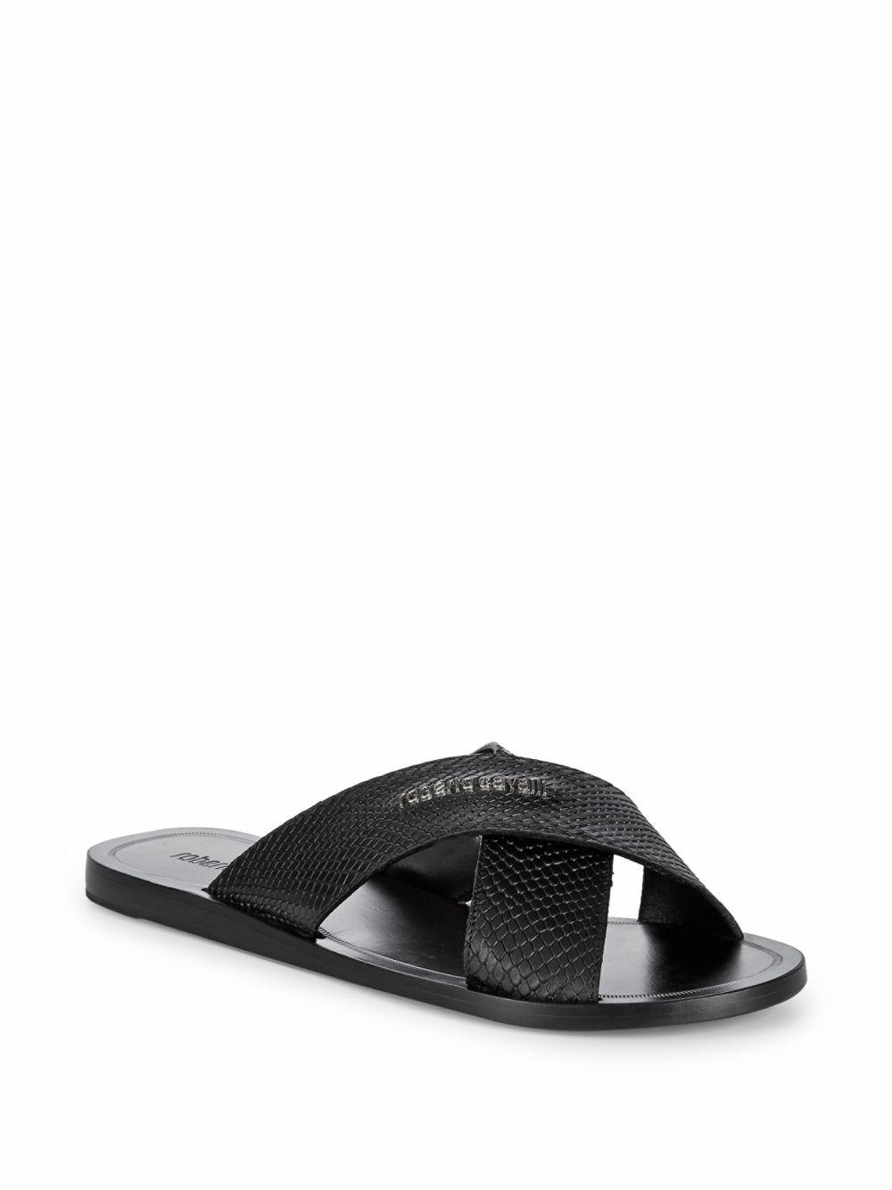 3f0ca1ab14 Lyst - Roberto Cavalli Cross Band Leather Sandals in Black for Men ...