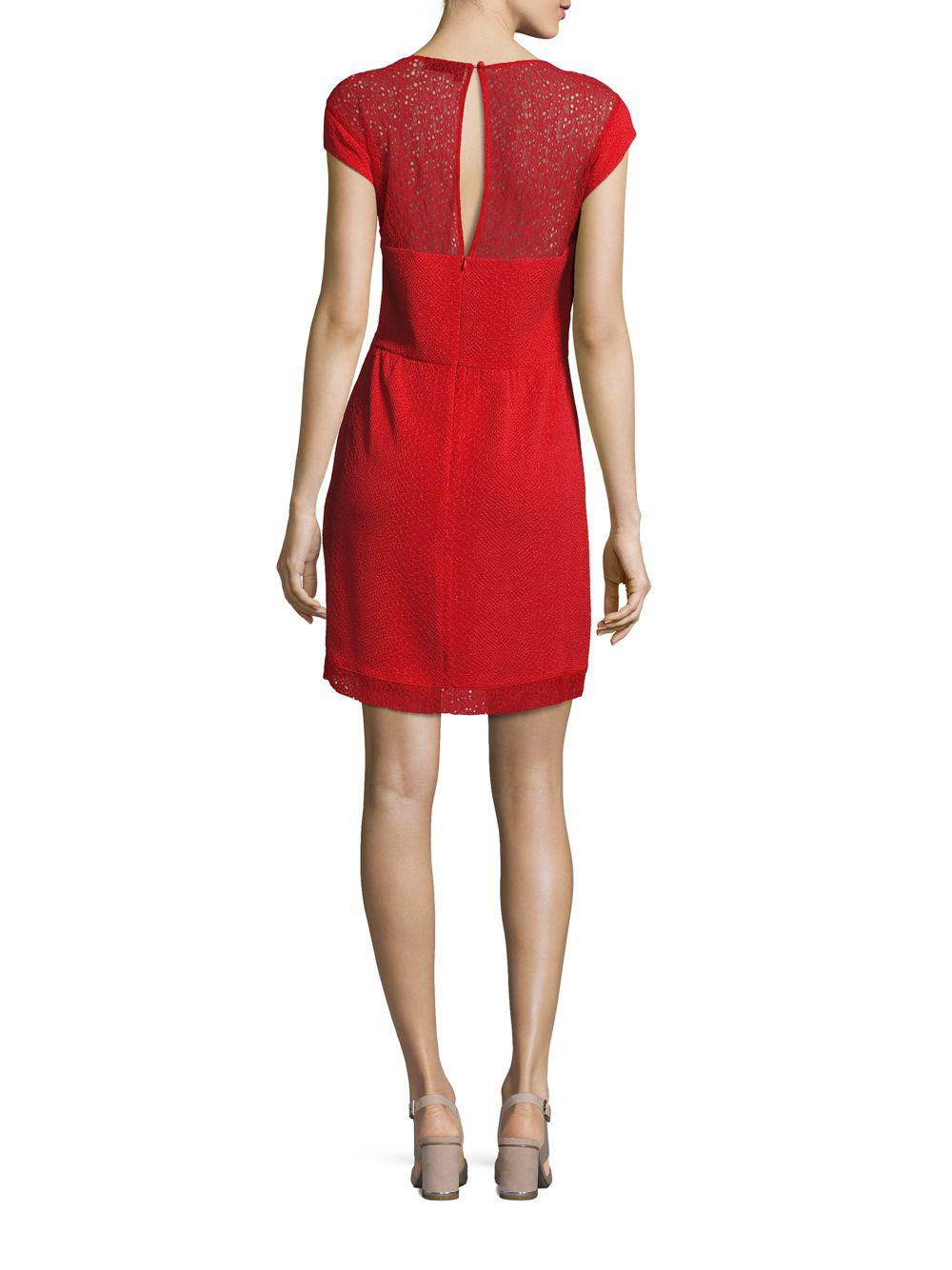 830c7cb8bc0 Lyst - The Kooples Jewelneck Cap-sleeve Dress in Red