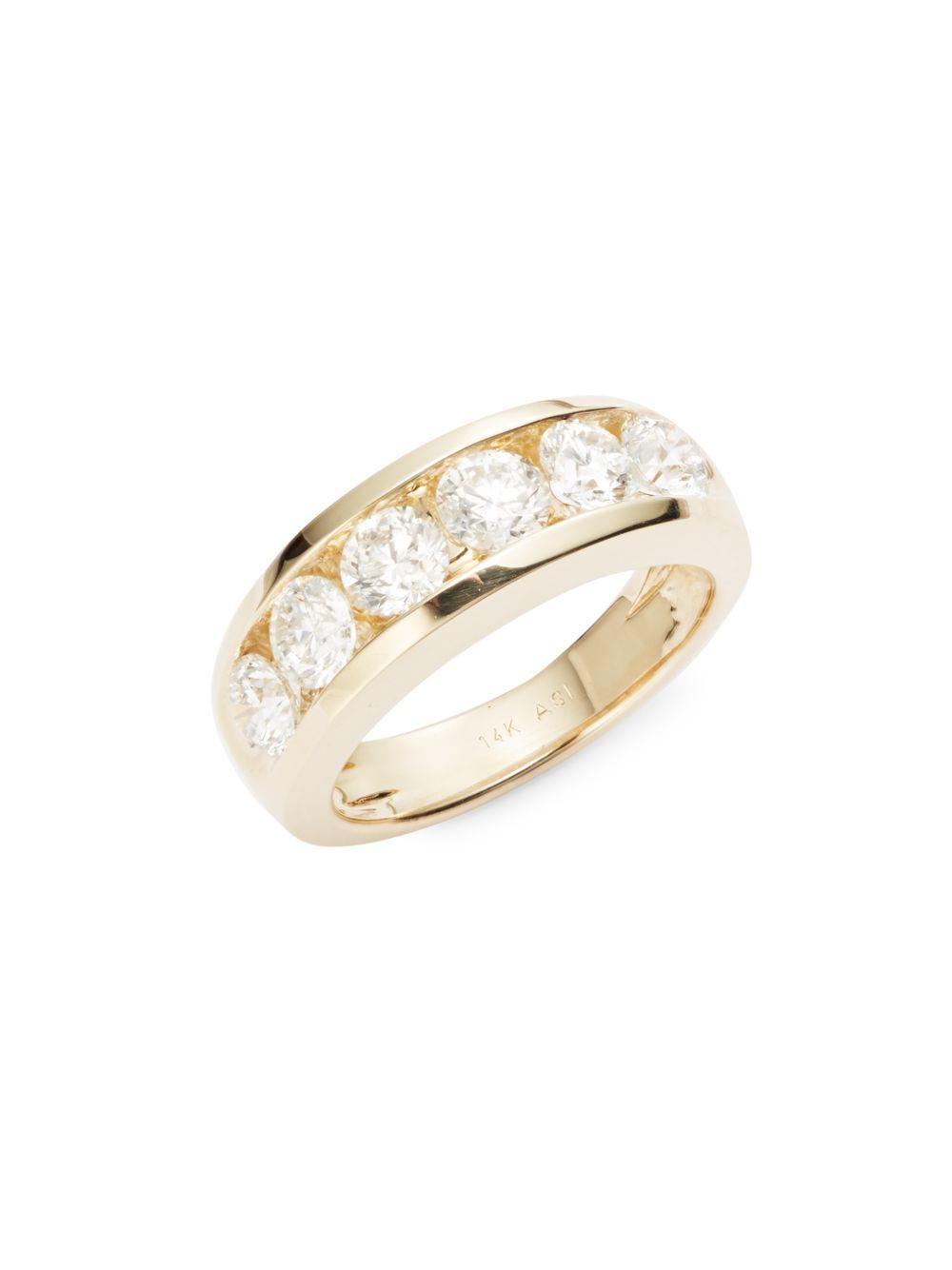 14c546172a209 Lyst - Saks Fifth Avenue Diamond & 14k Yellow Gold Band Ring in ...