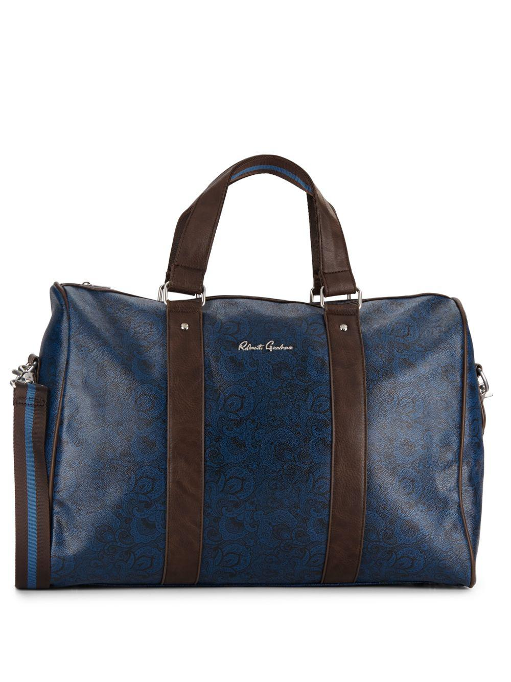 ddf24edeba4 Lyst - Robert Graham Paisley-print Faux Leather Duffle Bag in Blue ...