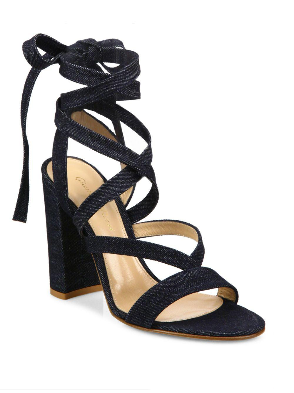 2a71f5bba27 Gianvito Rossi Denim Lace-up Gladiator Sandals in Blue - Lyst