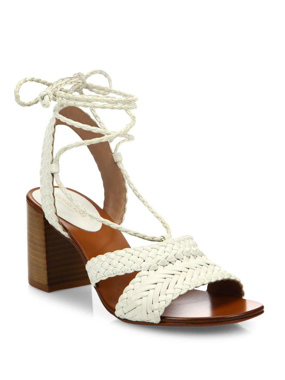 cd0af8a27d50 Michael Kors Lawson Leather Lace-up Sandals in White - Save 29% - Lyst