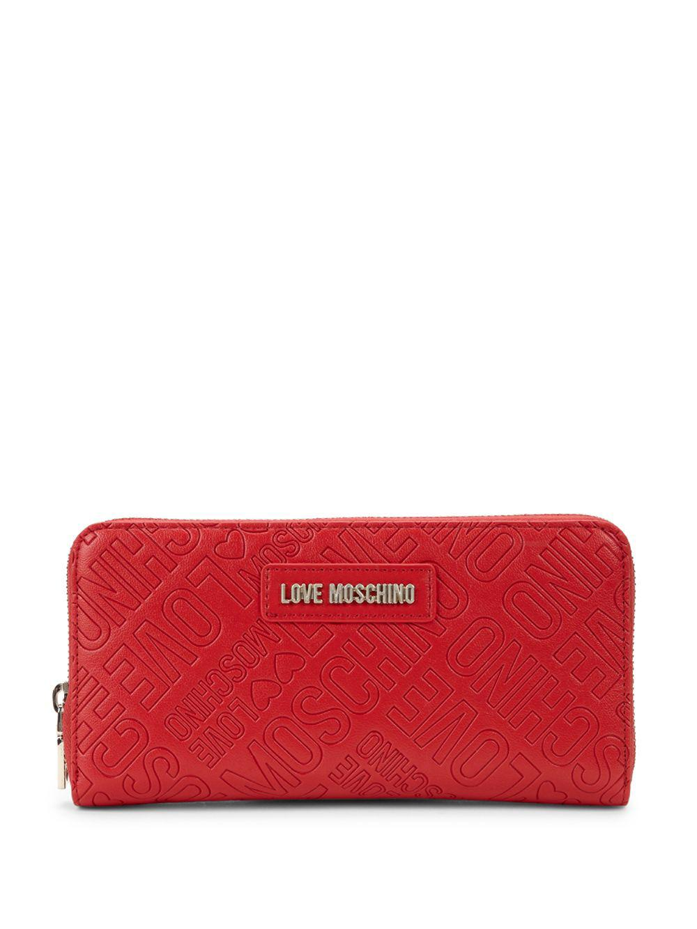 bb34f57d0c5 Lyst - Love Moschino Logo Embossed Zip Wallet in Red