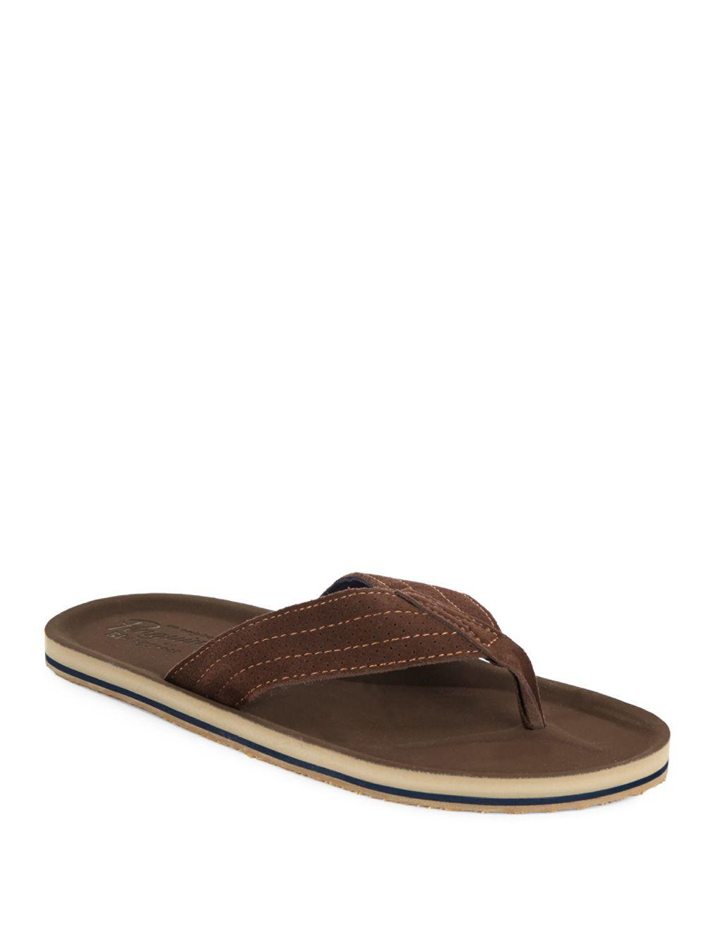 ed016eb20d9e Lyst - Original Penguin Brian Perforated Leather Sandals in Brown ...