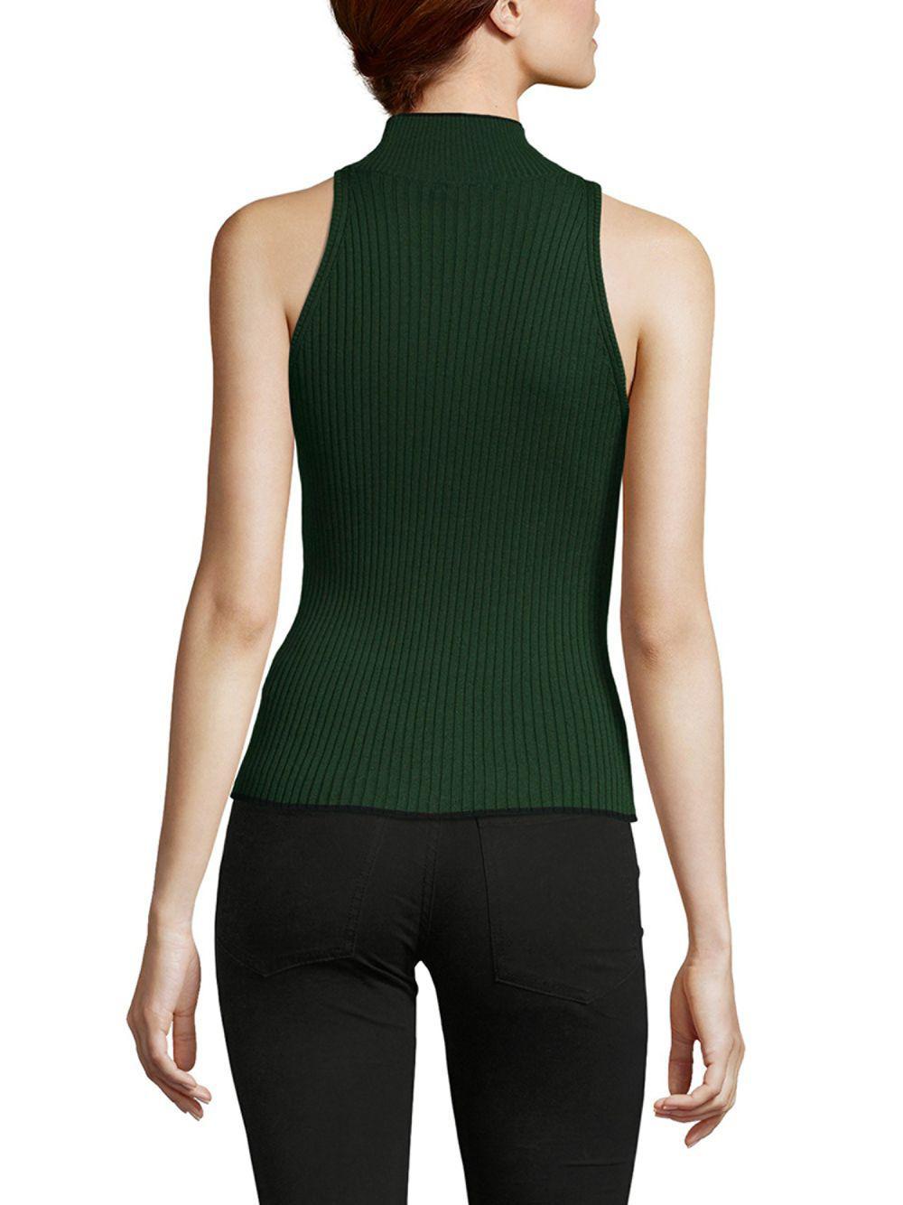 49c6d731631a0 Ronny Kobo - Green Ribbed Sleeveless Turtleneck - Lyst. View fullscreen