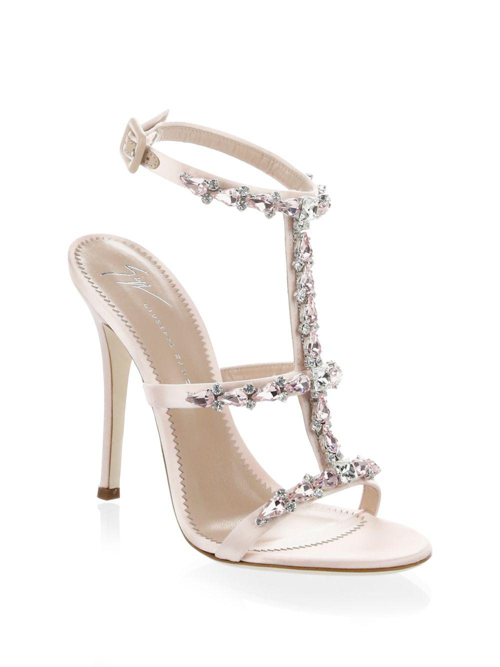 1b524a93c Lyst - Giuseppe Zanotti Alien Satin Open Toe Sandals in Pink - Save 6%