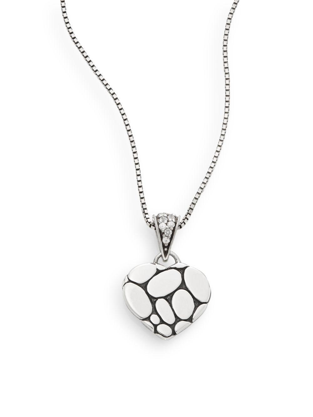 John Hardy Classic Chain White Sapphire Heart Pendant Necklace BeAIo