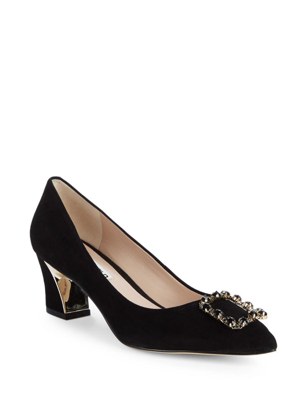 26015b4a043e Karl Lagerfeld Embellished Suede Block Heel Pumps 2