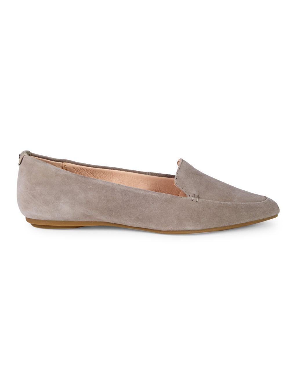73c3fd272dd Lyst - Taryn Rose Faye Silky Suede Loafer Flat in Gray - Save 50%