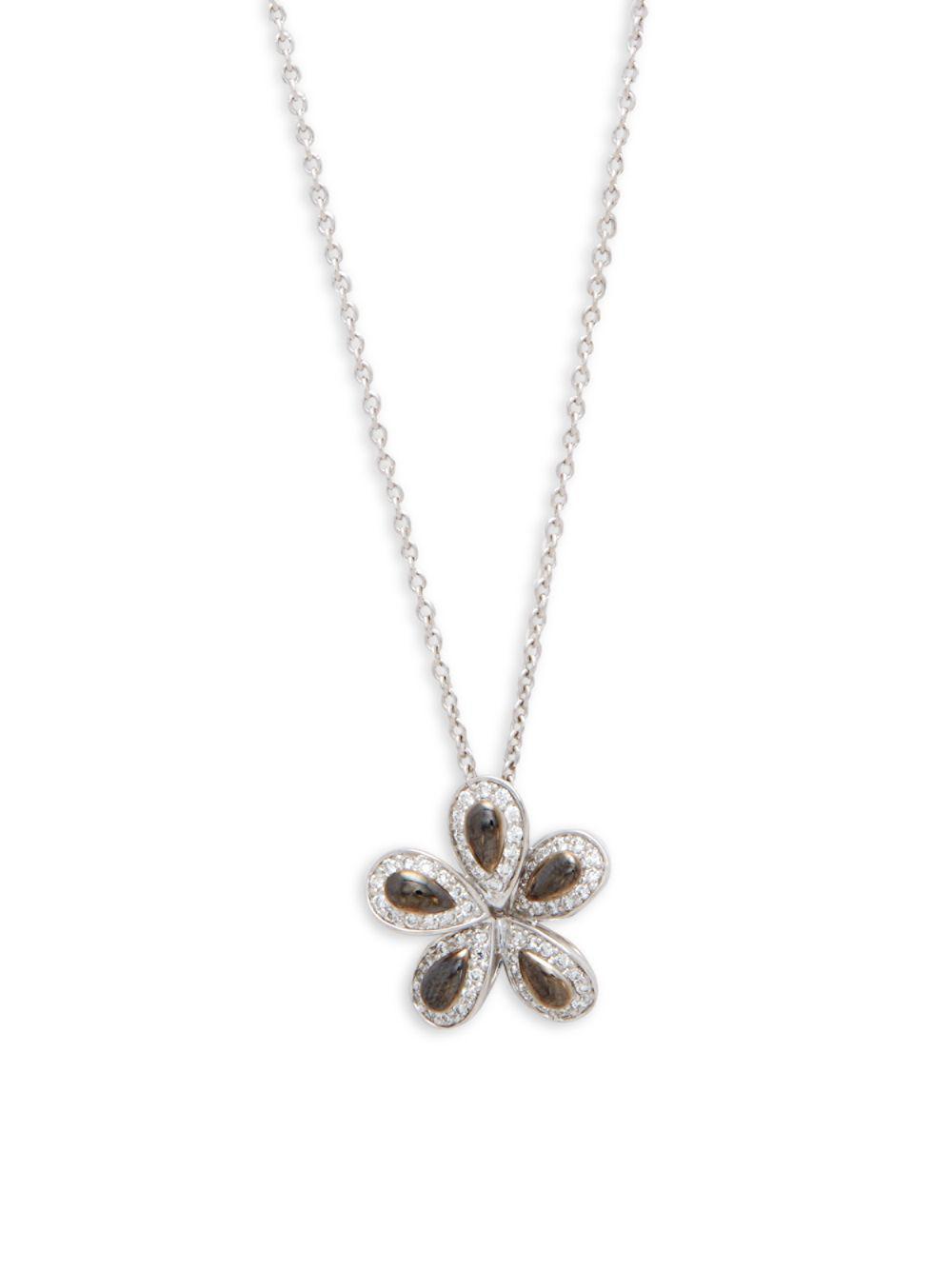 Lyst roberto coin fantasia diamond 18k white gold flower pendant roberto coin womens metallic fantasia diamond 18k white gold flower pendant necklace mightylinksfo