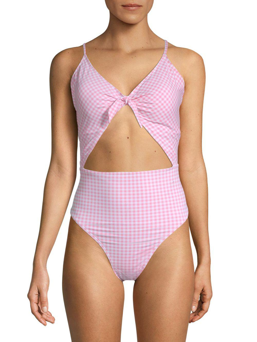 4deeca9cdd Juicy Couture Cut Out One-piece Printed Swimsuit in Purple - Lyst
