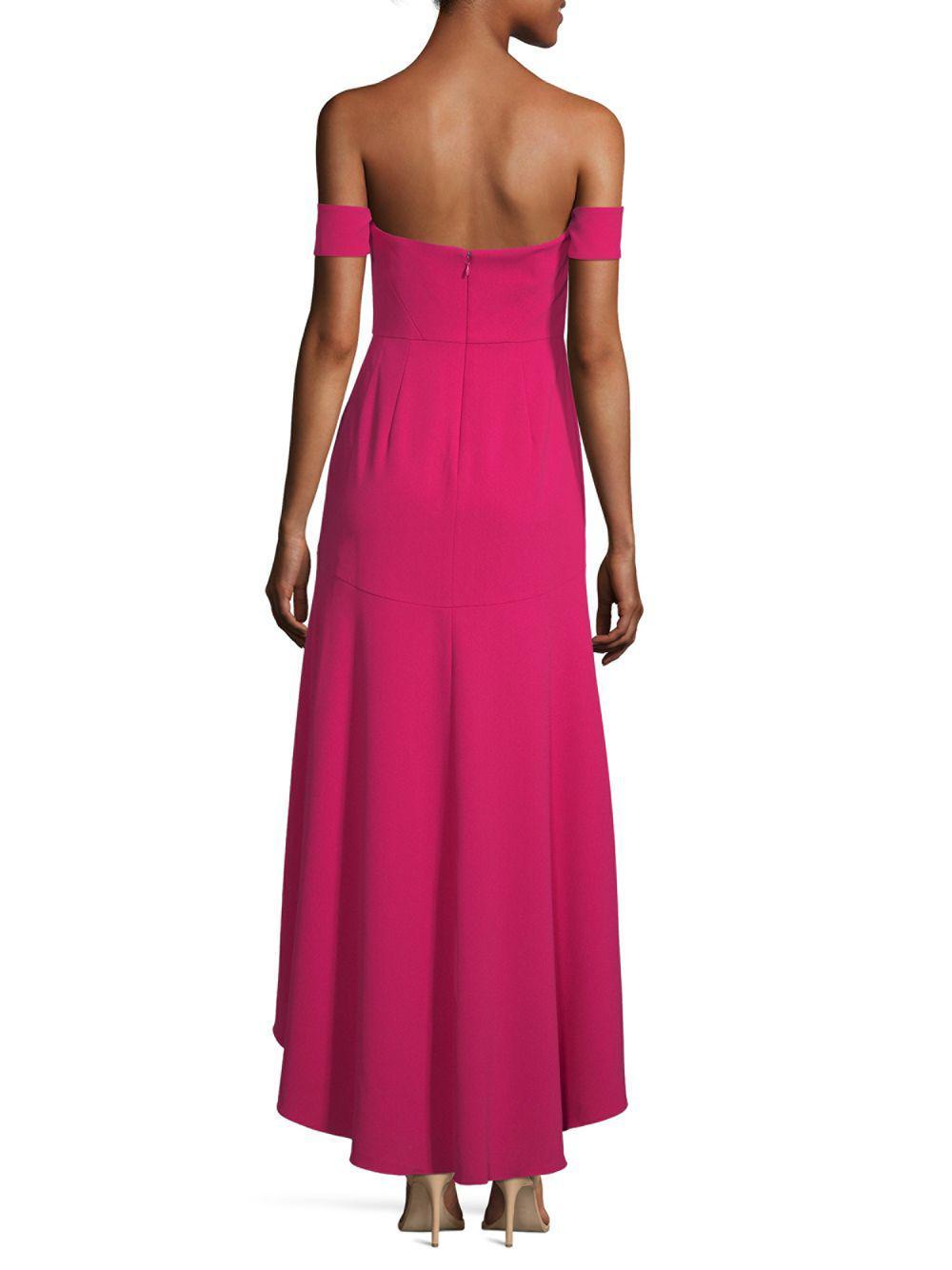 Aidan Mattox Off The Shoulder High Low Dress In Pink Lyst