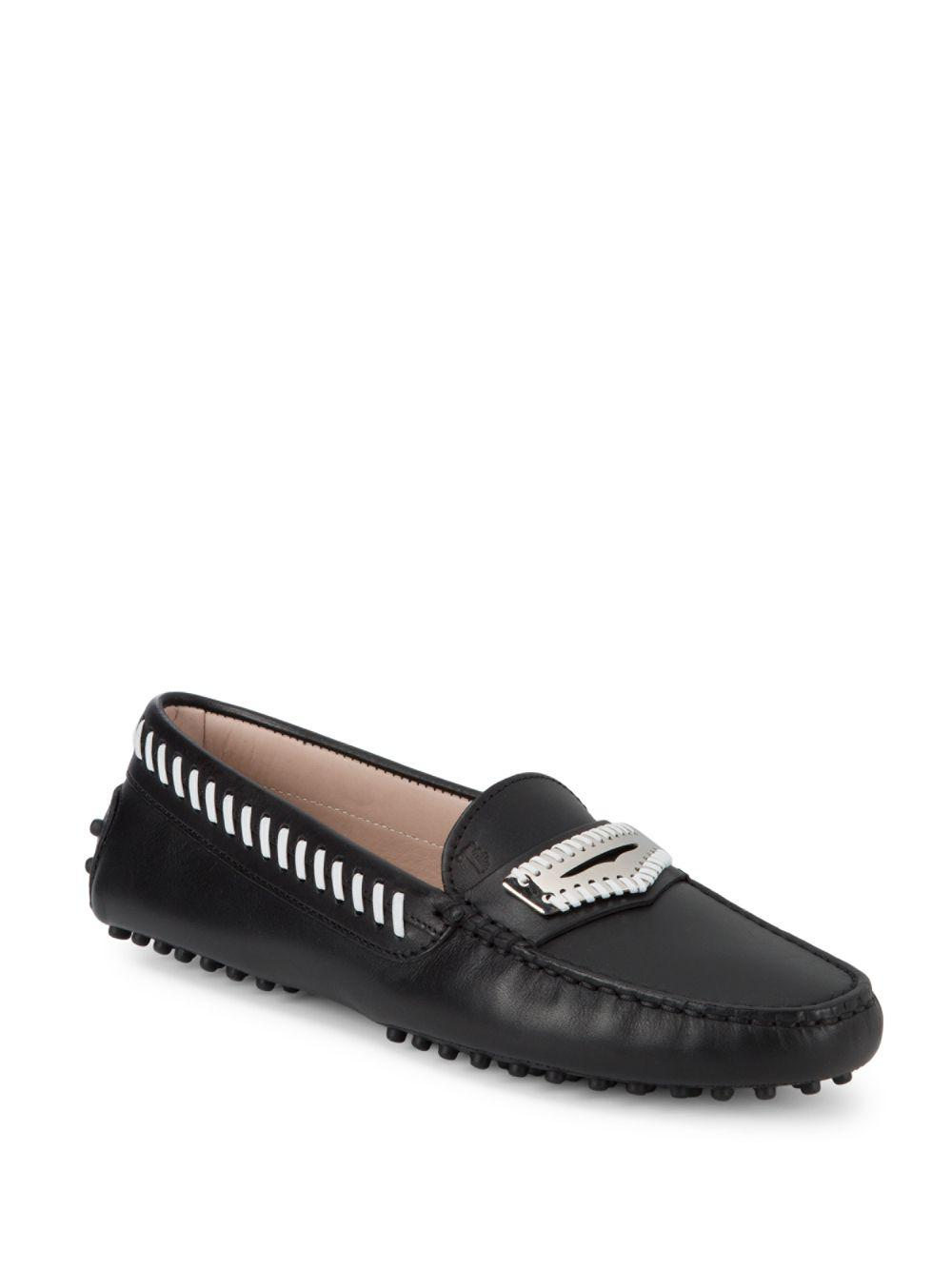 Tod's Round-Toe Leather Loafers 2014 cheap price sale new styles outlet pre order discount sneakernews aPEcjox