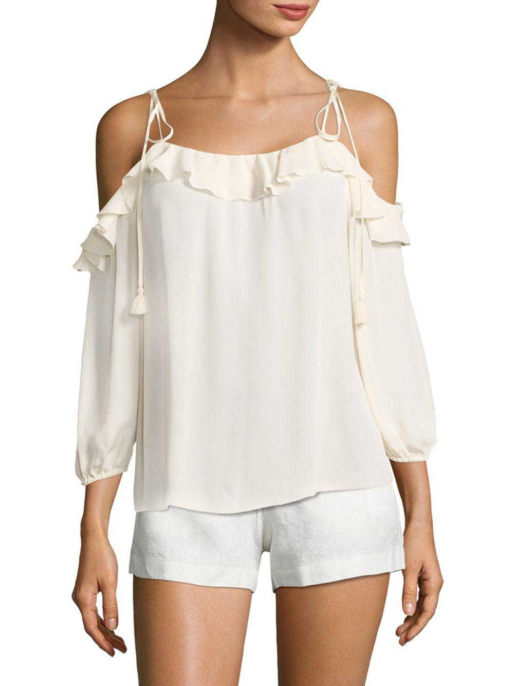 231c9a8ab12434 Lyst - Joie Eukene Ruffled Silk Cold Shoulder Blouse in White