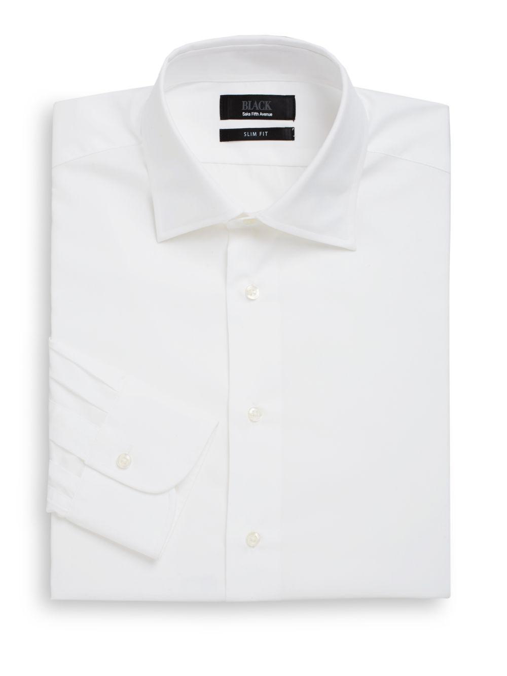 Lyst Saks Fifth Avenue Black Slim Fit Cotton Poplin Dress Shirt In