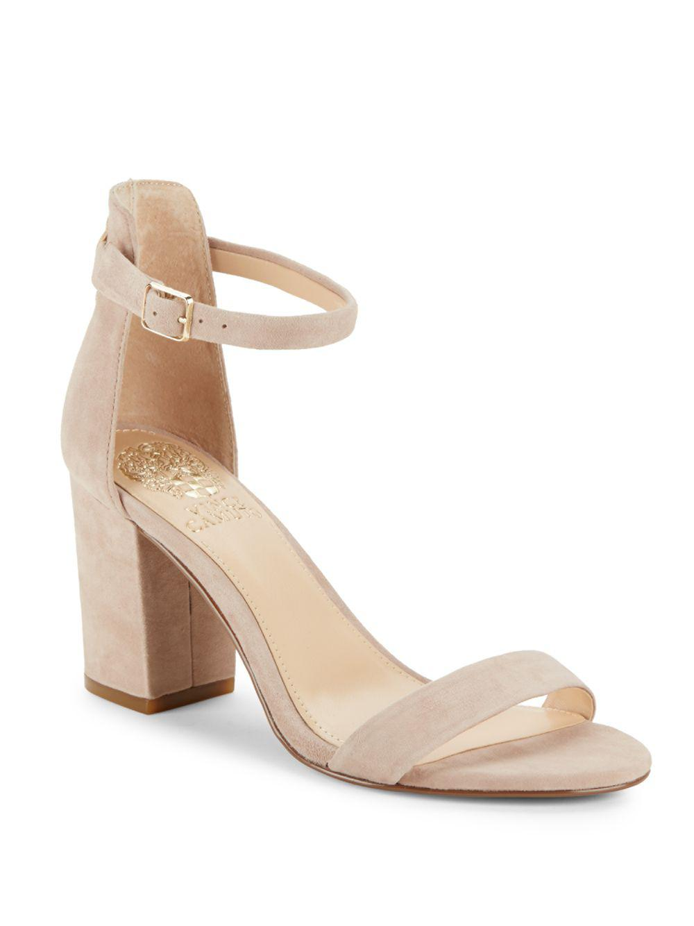 56a3ca3fee88 Lyst - Vince Camuto Beah Leather Block Heel Sandals in Natural