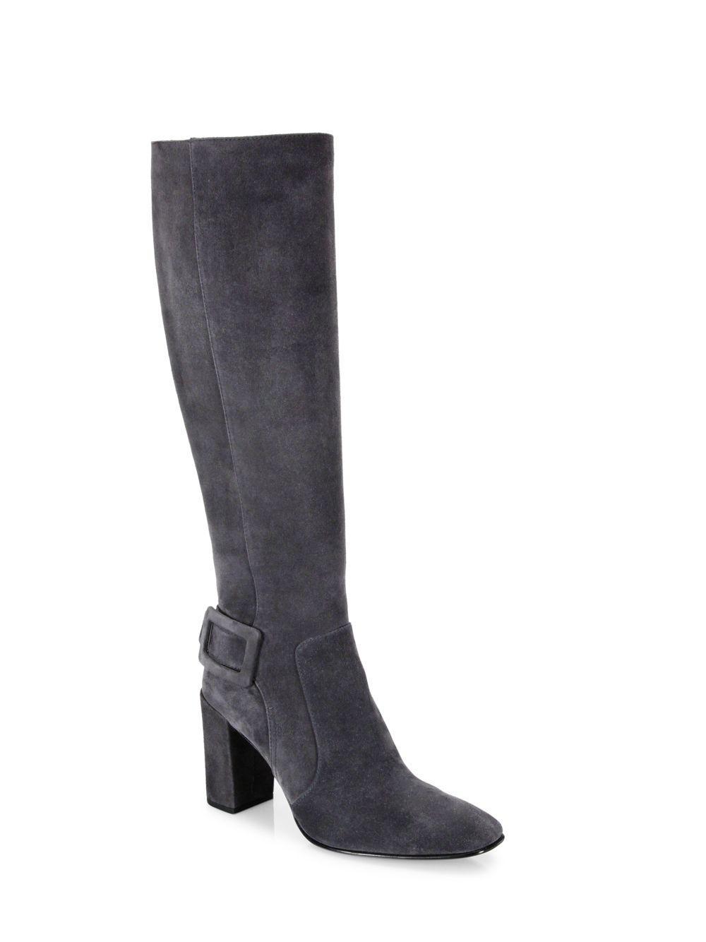 Tod's. Women's Gray Polly Suede Block-heel Knee Boots
