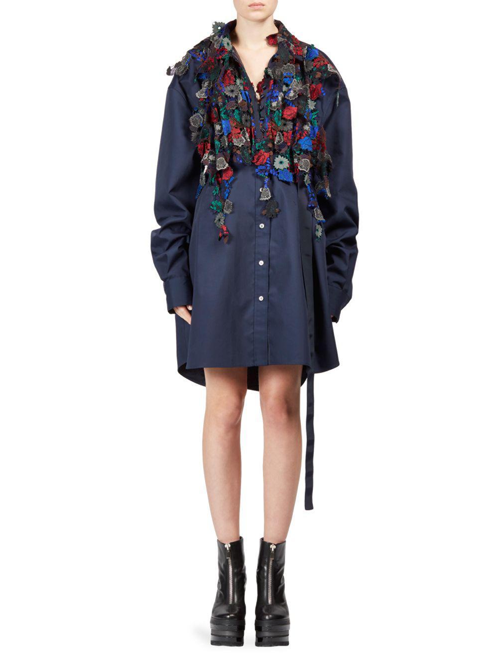 belted jacket dress - Blue sacai h9HZE5