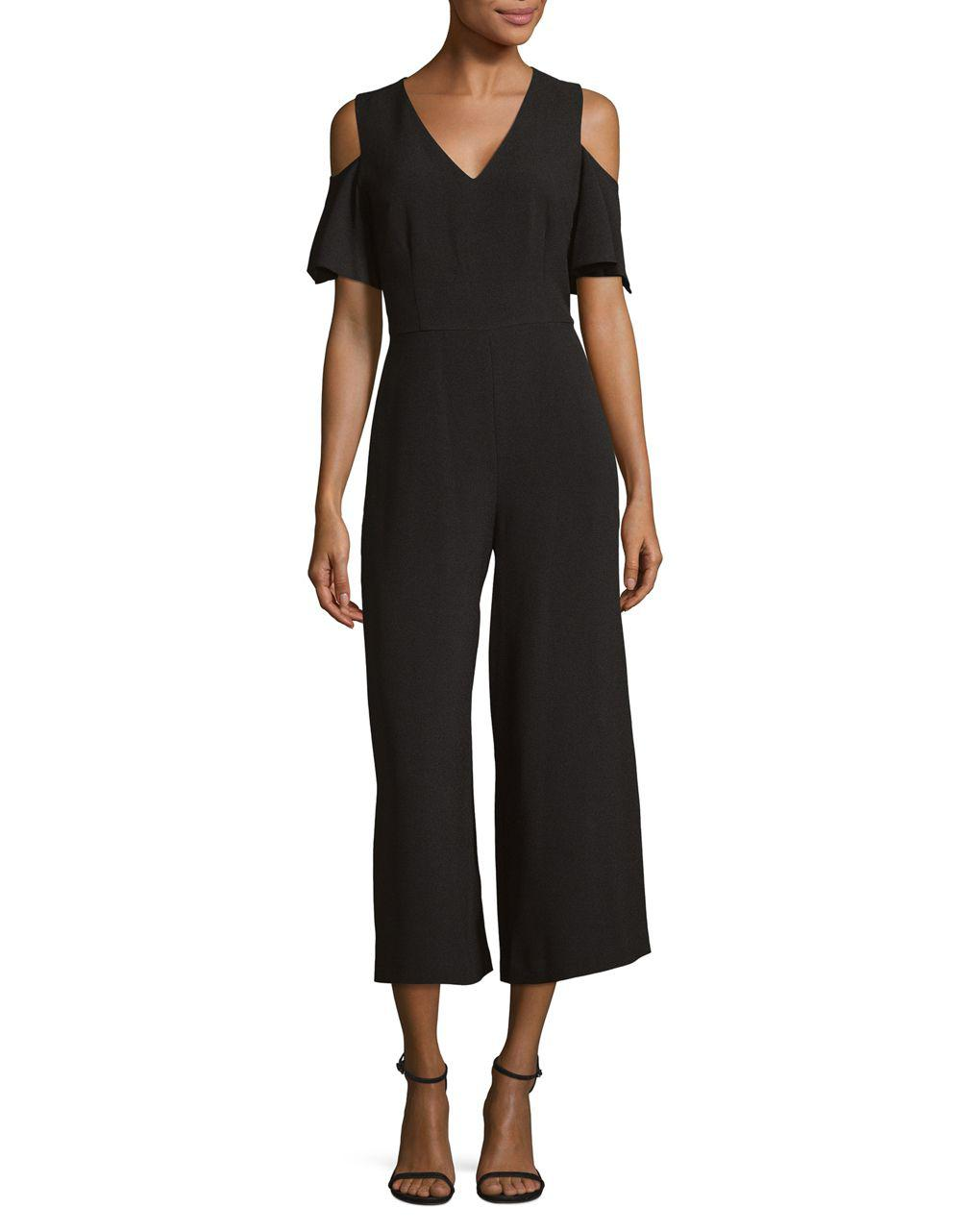 eb515bd312e9 Karl Lagerfeld Cold-shoulder Jumpsuit in Black - Save 9% - Lyst