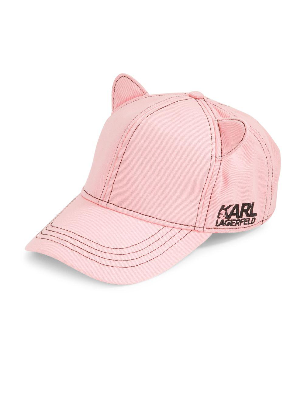 5b9b70f95fd Lyst - Karl Lagerfeld Cat Ears Baseball Hat in Pink