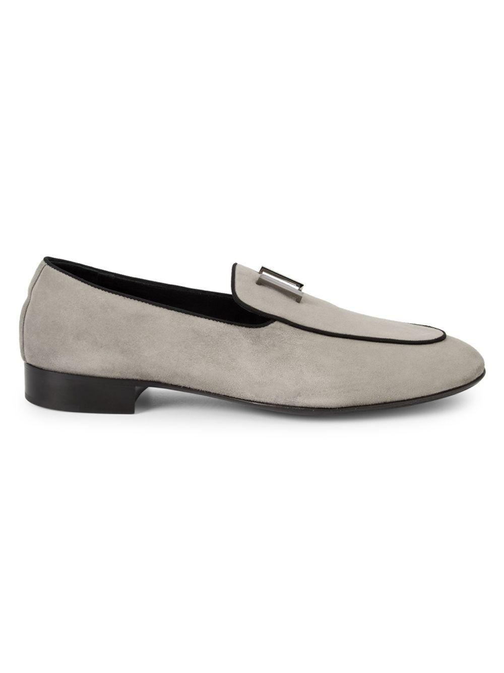 86be8156ad756 Lyst - Giuseppe Zanotti Bar Suede Loafers in Gray for Men