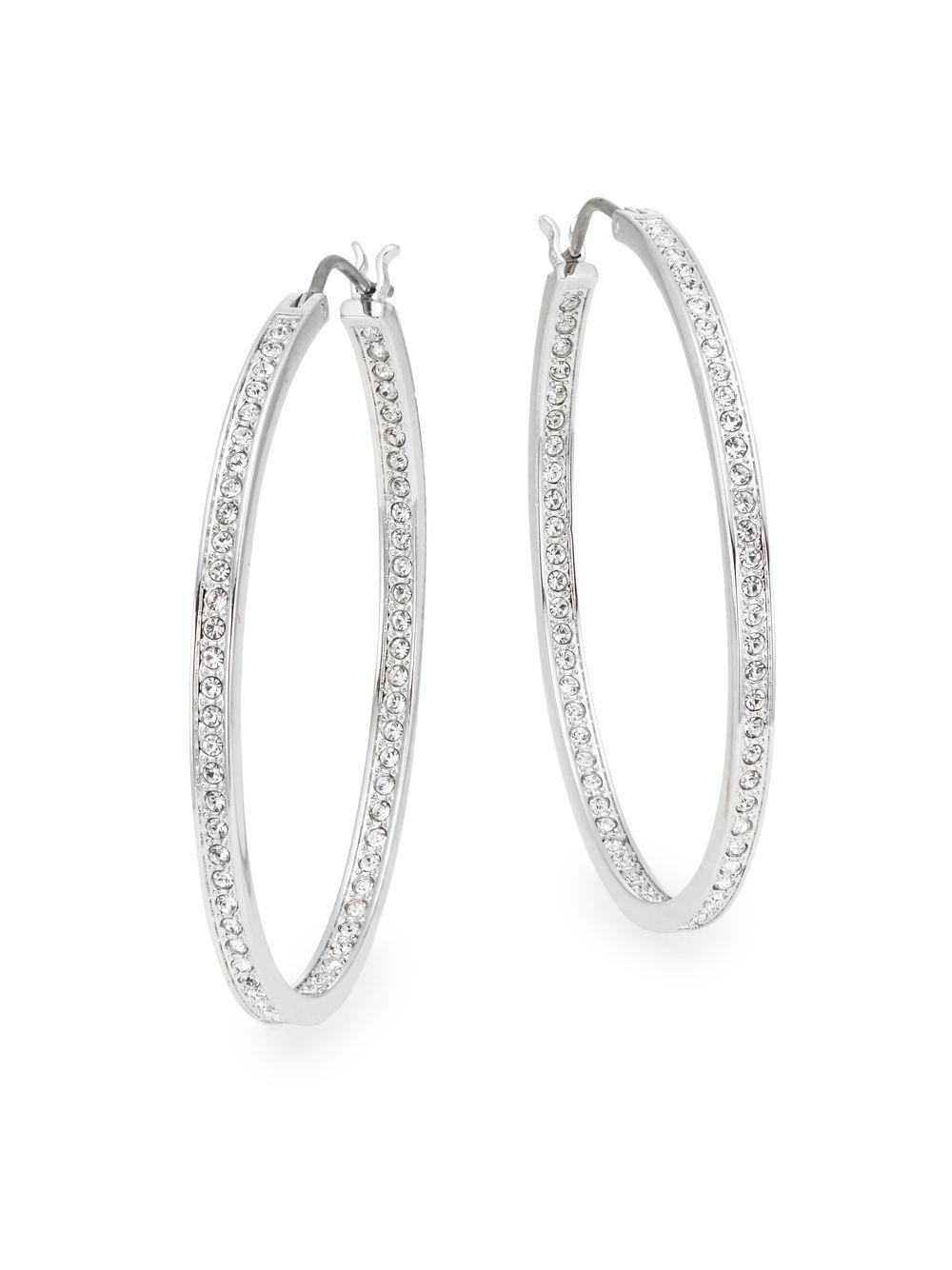 393b92a34c1e Lyst - Swarovski Ready Crystal Oval Hoop Earrings in Metallic