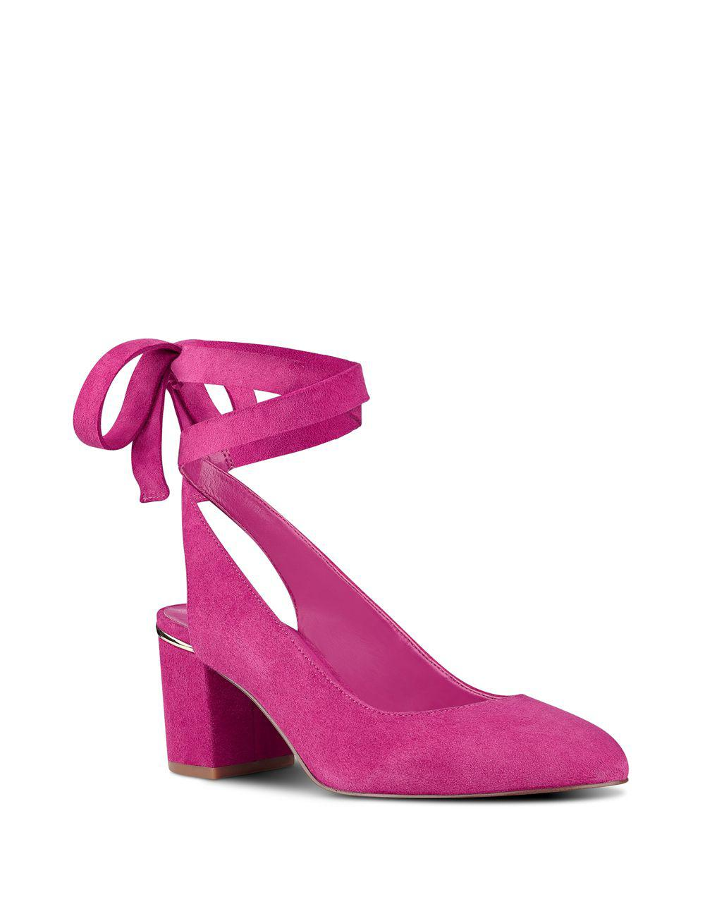f9300a5a2d Nine West Andrea Ankle Wrap Suede Pumps in Pink - Save 36% - Lyst